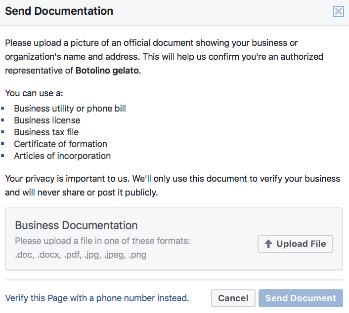 "Click to ""upload file"" button and Upload your business related document and click to ""send document"""
